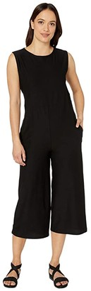 Eileen Fisher Petite Lightweight Washable Jewel Neck Cap Sleeve Ankle Length Jumpsuit (Black) Women's Jumpsuit & Rompers One Piece