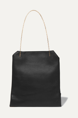 The Row Lunch Bag Small Leather Tote - Black
