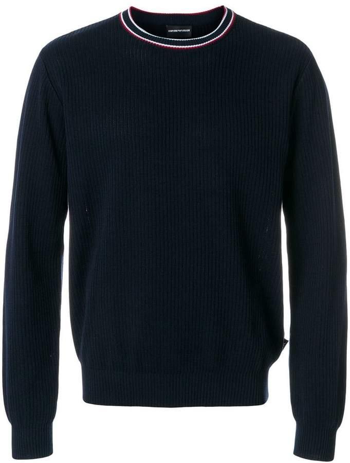 Emporio Armani ribbed crew neck sweater