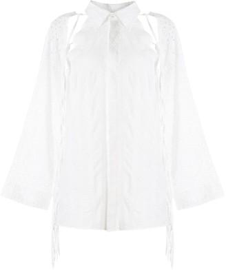 Maison Mihara Yasuhiro Fringed Long-Sleeve Shirt