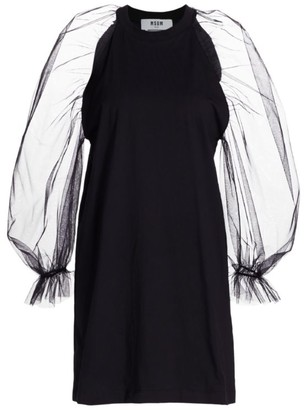 MSGM Long-Sleeve Organza Mini Dress
