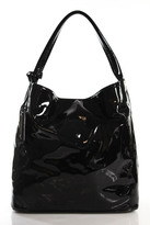 Jil Sander Dark Brown Patent Leather Hobo Tote Handbag