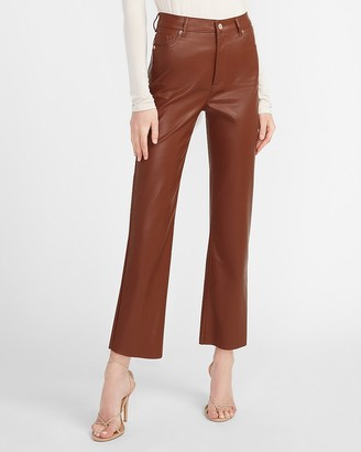 Express Super High Waisted Vegan Leather Cropped Straight Pant