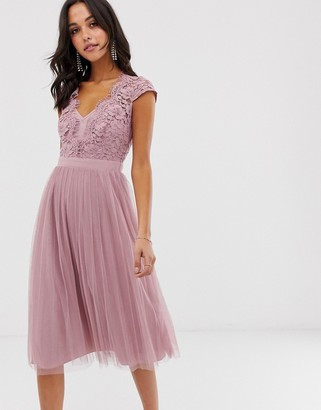Little Mistress capped sleeve lace midi dress with tulle skirt-Pink