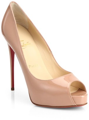 Christian Louboutin New Very Prive 120 Patent Leather Peep Toe Pumps