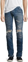 Pierre Balmain Distressed Moto Slim-Straight Jeans, Blue