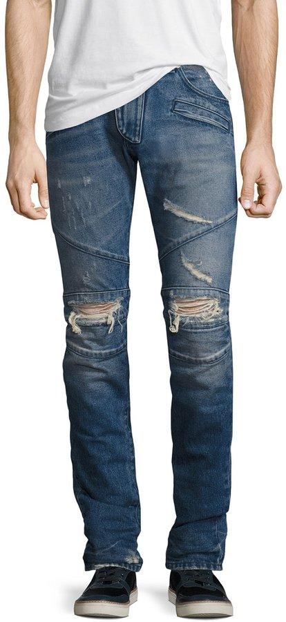 Pierre Balmain Distressed Moto Slim-Straight Jeans, Blue