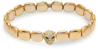 GABIRIELLE JEWELRY 22K Goldplated, White & Green Crystal Panther Chicklet Bracelet