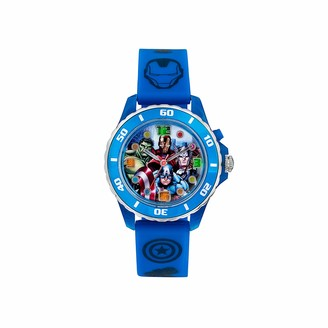 The Avengers Avengers Children's Quartz Watch with Multicolour Dial Analogue Display and Blue Rubber Strap AVG3506