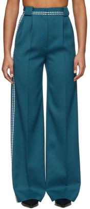 Fendi Blue High-Waisted White Stitch Trousers