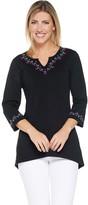 Denim & Co. Embroidered V-Neck Top w/ 3/4-Sleeves & Hi-Low Hem