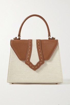 Mehry Mu - Fey Leather-trimmed Herringbone Canvas Tote - Cream