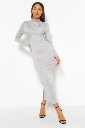 boohoo Wrap Detail Cut Out Bodycon Midaxi Dress