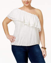 American Rag Trendy Plus Size Crochet-Trim One-Shoulder Top, Created for Macy's