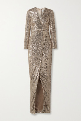 Semsem Belted Wrap-effect Sequined Stretch-tulle Gown - Gold