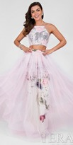 Terani Couture Floral Two Piece Tiered Overlay Prom Dress