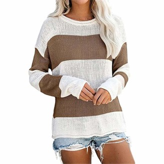 MENAB Women's Jumpers Casual Pullover Sweater Colour Block Striped Knitted Long Sleeve Crewneck Jumper Tops Striped Tops Knitted Long Sleeve Crew Neck Color Block Pullover Sweater Green Medium