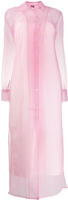 STAUD Crinkled Organza Shirt Dress
