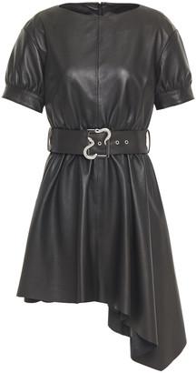 Just Cavalli Asymmetric Belted Leather Mini Dress