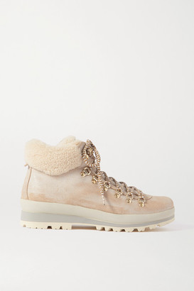 Bogner St. Anton Shearling-lined Nubuck Ankle Boots - Off-white