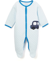 Bon Bebe Blue Car & Star Appliqué Quilted Footie