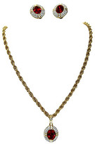 One Kings Lane Vintage Givenchy Crystal Necklace & Earring Set - Wisteria Antiques Etc - gold/ruby/clear