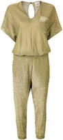 Nude glittery cropped jumpsuit - women - Polyamide/Polyester/Viscose - 40