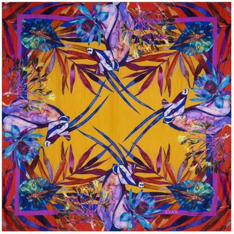 "Sika'a Hand Painted ""African Antelope"" Print Silk Scarf"