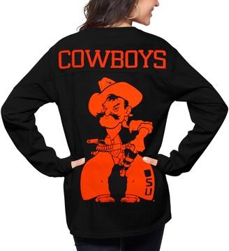 Unbranded Women's Pressbox Black Oklahoma State Cowboys The Big Shirt Oversized Long Sleeve T-Shirt