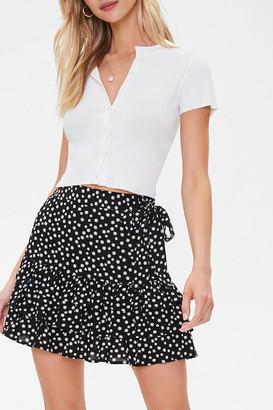 Forever 21 Floral Tiered Flounce-Hem Skirt