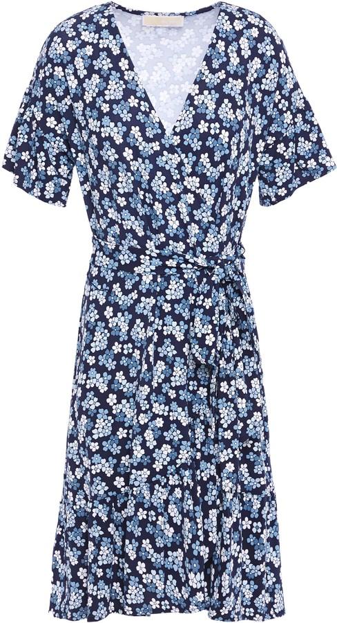 MICHAEL Michael Kors Floral-print Stretch-jersey Mini Wrap Dress