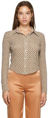 Nanushka Brown Checked Mesh-Jersey Alice Shirt
