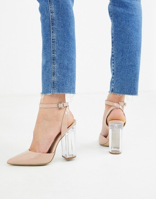 New Look clear heeled shoes in oatmeal