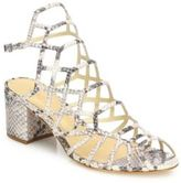 Schutz Bollie Python-Embossed Leather Caged Block-Heel Sandals