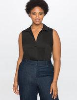 ELOQUII Plus Size Sleeveless Pleat Front Oxford Bodysuit