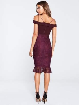 AX Paris Strappy Lace Skirt Frill Hem Dress - Plum
