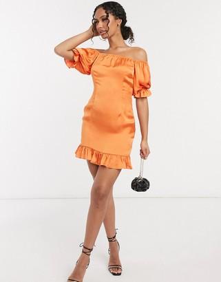 NA-KD puff sleeve mini dress with frill hem in orange