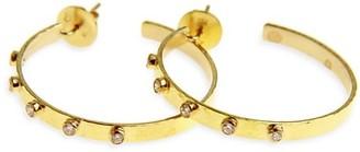 Elizabeth Locke Hammered 19K Yellow Gold & Diamond Ribbon Hoop Earrings