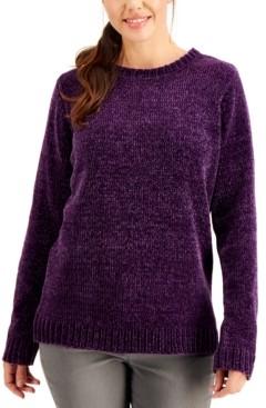 Karen Scott Petite Solid Chenille Crewneck Sweater, Created for Macy's