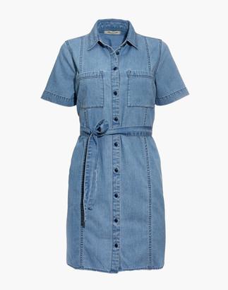 Madewell Denim Seamed Courier Tie-Waist Shirtdress