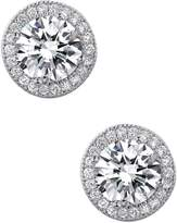 Lafonn Platinum Plated Sterling Silver Micro Pave Simulated Diamonds Radiant Round Earrings