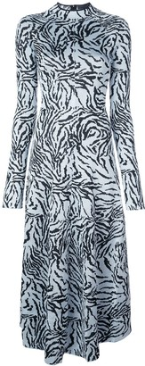 Proenza Schouler Zebra Jacquard Long Sleeve Dress