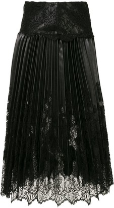 Ermanno Scervino Pleated Lace Skirt