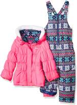 Pink Platinum Platinum Little Girls' Snowflake Print Snowsuit