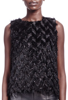 Lanvin Feather-Effect Sleeveless Top