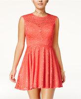 B. Darlin Juniors' Lace-Up Fit & Flare Dress