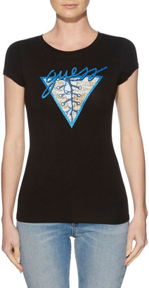 GUESS Short Sleeve Denim Lace Up R3 Logo Tee
