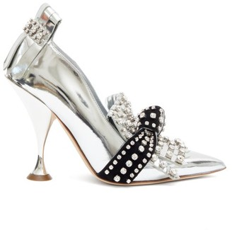 Burberry Goodall Crystal-embellished Patent-leather Pumps - Womens - Silver/black