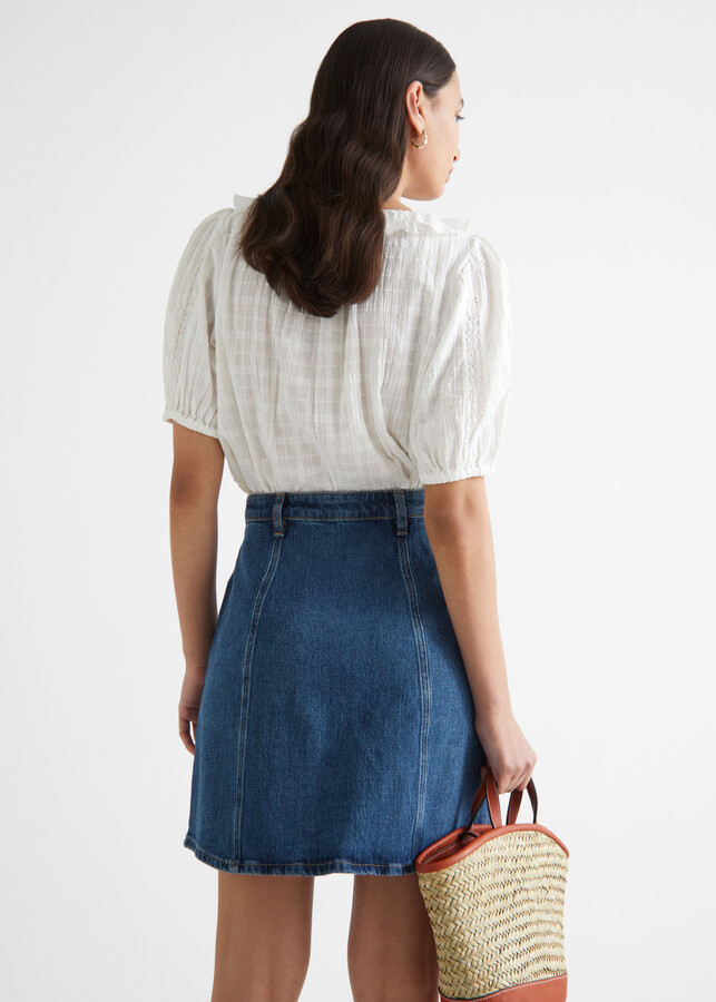 Thumbnail for your product : And other stories Floral Button Denim Mini Skirt