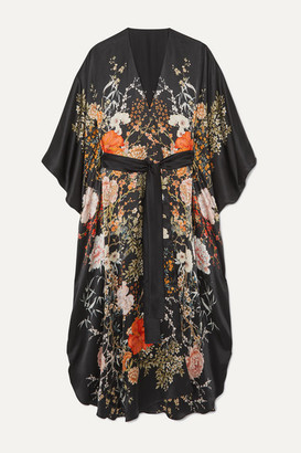 Meng MENG - Floral-print Silk-satin Robe - Black